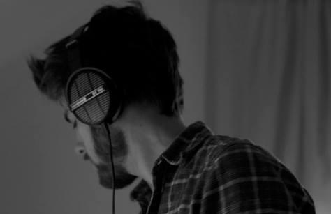 Fabian wearing headphones